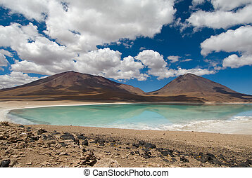 mountain, reflecting in the lake, laguna verde, bolivia