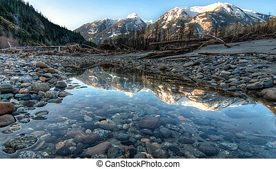 Mountain Reflection in Still River Side Pool