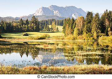 Mountain Reflection - Reflection of the Karwendel Mountains...