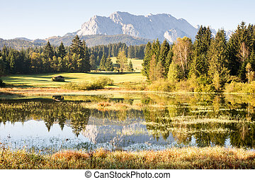 Mountain Reflection - Reflection of the Karwendel Mountains ...