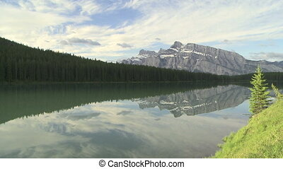 Mountain reflection wide shot - Mount Rundle, Banff National...