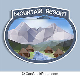 Mountain Resort sticker - polygonal