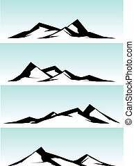 mountain ridge in black and white on blue background