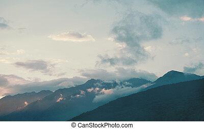 Mountain ridge in blue colors.