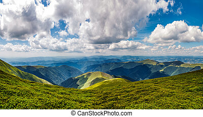 mountain ridge on a cloudy day. gorgeous landscape in summer