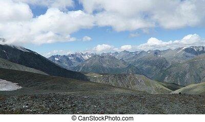 Mountain ridge scenic view. Altai Mountains, Russia