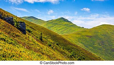 mountain ridge with peak behind the hillside. beautiful...
