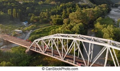 Mountain river. Aerial Video Filming - Flying over a white...