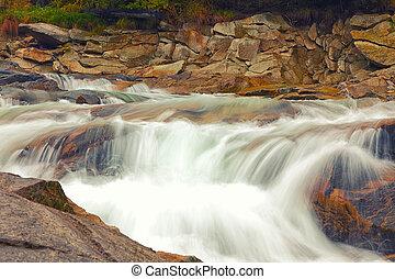 mountain river at autumn time