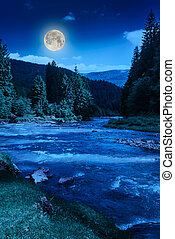 Mountain river at night - river near embankment with trees...
