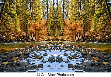 Mountain River Bridge 2 - Rich colors along spring mountain...