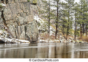 mountain river canyon in early spring
