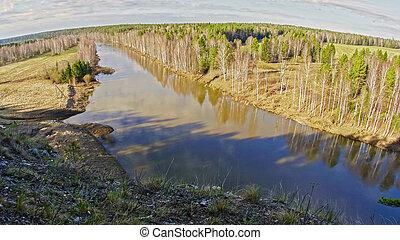 Mountain river Chusovaya, Ural, Russia - Rocky shore of a ...