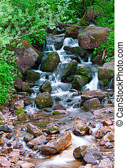 mountain river. fast stream water. Russia Ural