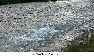 mountain river. fast stream water. Russia Altai