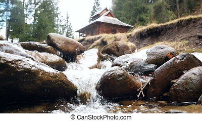 Mountain river house - Waterfall that is river in mountain