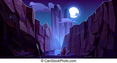 Mountain river in canyon at night. Vector cartoon landscape ...