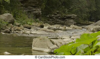 Mountain river in canyon - Sliding video of a rapid mountain...