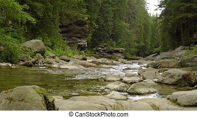 Mountain river in canyon - Sliding video of mountain river...