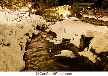 Mountain River in Megeve at Night, France