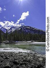 Mountain river in the Alaska Wrangell mountains