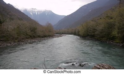 Mountain River in Valley