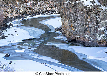 mountain river in winter scenery