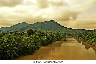 Mountain River on a cloudy day