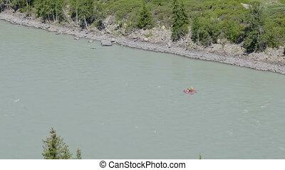 Mountain river rafting in Altai mountains Siberia, Russia.