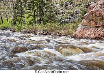 mountain river rapid in springtime