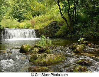 Mountain river stream. Waterfall.