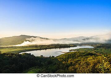 Mountain river sunset