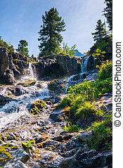 mountain river waterfall beautiful landscape on a sunny day