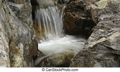 Mountain river waterfall in forest