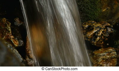 Mountain river waterfall in forest. Media with audio track