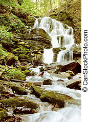Mountain River Waterfall Vertical