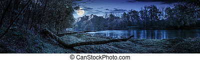 mountain river with fallen tree on the shore at night -...