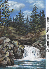 Picture, Russia, mountain Altay river with falls, drawing a pastel on a cardboard