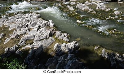 Mountain River with Stones with Transparent Water