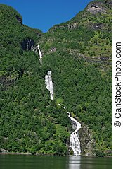 Mountain river with waterfall in Norway - Mountain river...