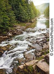 mountain river witn rock