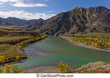 mountain rivers - the merger of two rivers, Altai, Russia