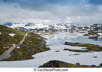 Mountain road 55 in Sognefjellet, Norway.
