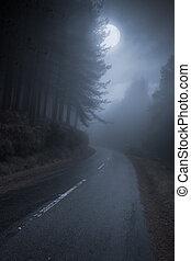 Mountain road at night - Mountain Road that runs through the...