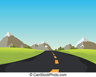 Mountain Road - Illustration of a simple cute cartoon...