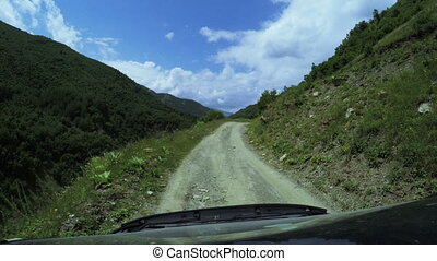 Mountain road from car
