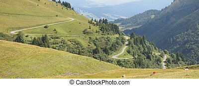 Mountain road in lace from the famous french Aravis pass, France, The Alps, Panorama