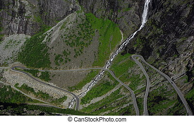 Mountain road in Norway - Beautiful view from famous...