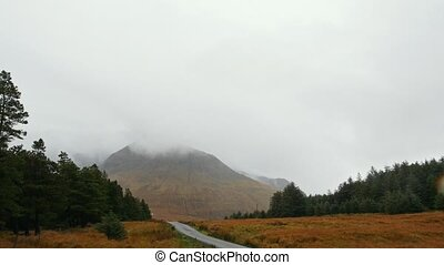 Mountain road in Scotland highland, wide angle