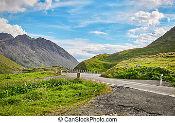 Mountain road in Swiss Alps